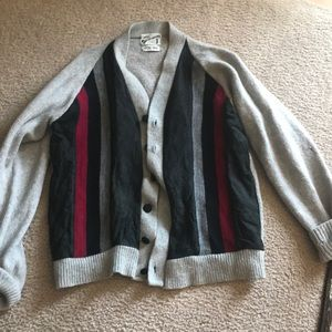 Vintage leather and knit sweater